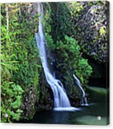 Road To Hana Waterfall Acrylic Print by Pierre Leclerc Photography