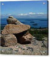 Rock Cairn On Cadillac Mountain Acrylic Print