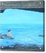 Rock Painting-nude Woman At Ocean Acrylic Print