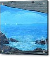 Rock Painting-ocean Sailboats Acrylic Print