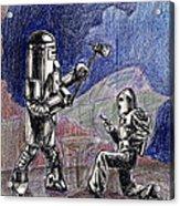 Rocket Man And Robot Acrylic Print