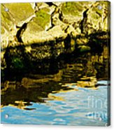 Rocks And Reflections On Ocean Acrylic Print