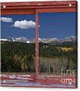 Rocky Mountain Autumn Red Rustic Picture Window Frame Photos Art Acrylic Print