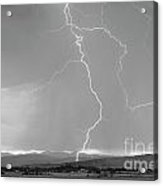 Rocky Mountain Front Range Foothills Lightning Strikes 1 Bw Acrylic Print