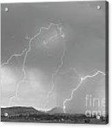 Rocky Mountain Front Range Foothills Lightning Strikes Bw Acrylic Print