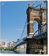 Roebling Bridge To Cincinnati Acrylic Print