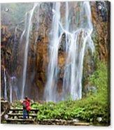 Romantic Scenery By The Waterfall Acrylic Print