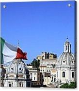 Rome Skyline With Italian Flag Acrylic Print