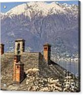 Roof With Chimney And Snow-capped Mountain Acrylic Print