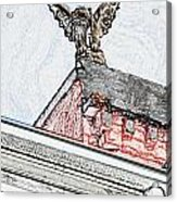 Rooftop Gargoyle Statue Above French Quarter New Orleans Colored Pencil Digital Art Acrylic Print