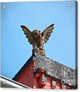Rooftop Gargoyle Statue Above French Quarter New Orleans Film Grain Digital Art Acrylic Print