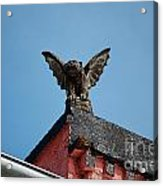 Rooftop Gargoyle Statue Above French Quarter New Orleans Poster Edges Digital Art Acrylic Print