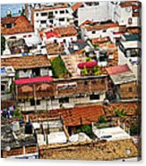 Rooftops In Puerto Vallarta Mexico Acrylic Print by Elena Elisseeva