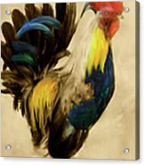 Rooster On The Prowl 2 - Vintage Tonal Acrylic Print
