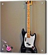 Rose And Bass Guitar Acrylic Print