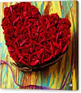 Rose Heart And Ribbon Acrylic Print by Garry Gay