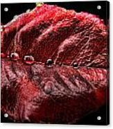 Rose Leaf Macro With Drops Acrylic Print