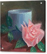 Rose With Blue Cup Acrylic Print