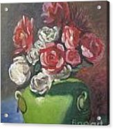 Roses And Green Vase Acrylic Print by Lilibeth Andre
