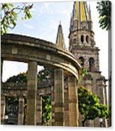 Rotunda Of Illustrious Jalisciences And Guadalajara Cathedral Acrylic Print