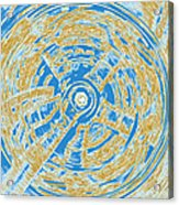 Round And Round Blue And Gold Acrylic Print