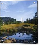 Round Tower In The Forest Glendalough Acrylic Print