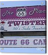 Route 66 Twisters Sign Acrylic Print