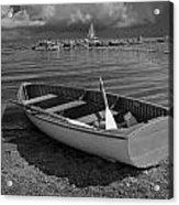 Row Boat On The Shore Of Lake Ontario In Toronto Acrylic Print
