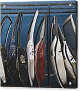 Row Of Dismantled Car Doors Acrylic Print by Noam Armonn