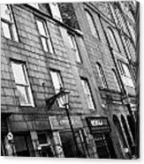 Row Of Old Granite Houses And Shops On The Green Aberdeen Scotland Uk Acrylic Print by Joe Fox