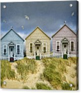 Row Of Pastel Colored Beach Cottages Acrylic Print