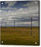 Row Of Utility Poles On The Prairie Acrylic Print