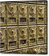 Rows Of Post Office Mailboxes With Combination Locks And Brass O Acrylic Print