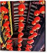 Rows Of Red Chinese Paper Lanterns - Shanghai China Acrylic Print