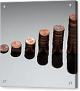 Rows Of Stacks Of Five Cent Euro Coins Increasing In Size Acrylic Print by Larry Washburn