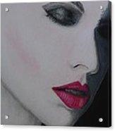 Ruby Lips Acrylic Print by David Hawkes