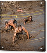 Runners Navigate An Obstacle Course Acrylic Print
