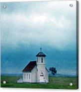 Rural Church With Stormy Sky Acrylic Print