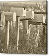 Rural Mail Boxes In Sepia Acrylic Print