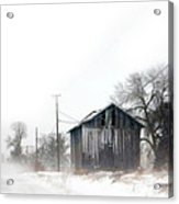 Rural Road By A Shack In Winter Acrylic Print
