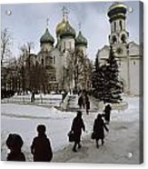 Russian Women, Dressed In Black, Walk Acrylic Print