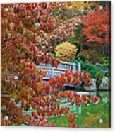 Rust Colored Leaves Over Autumn Pond Acrylic Print
