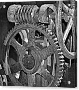 Rust Gears And Wheels Black And White Acrylic Print