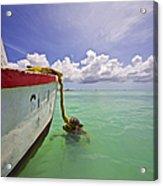 Rustic Fishing Boat Of Aruba Acrylic Print