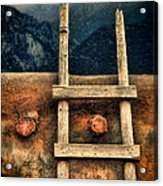 Rustic Ladder On Adobe House Acrylic Print