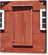 Rustic Red Barn Door With Two White Wood Windows Acrylic Print