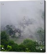 Rustic Village In The Fog Acrylic Print