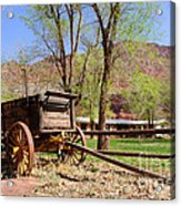 Rustic Wagon At Historic Lonely Dell Ranch - Arizona Acrylic Print by Gary Whitton