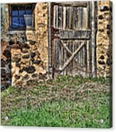Rustic Wooden Door In Stone Barn Acrylic Print