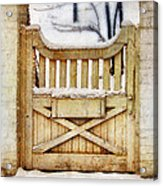 Rustic Wooden Gate In Snow Acrylic Print